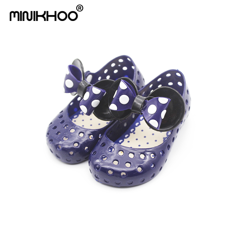 Mini Melissa Kids Shoes 2018 New Mickey Dot Bow Sandals Jelly Crystal Children Shoes Mickey Minnie Girls Slippers Princess Shoes