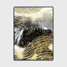 3D Golden Ink Painted Carpets for Living Room Bedroom Decor Rug Sofa Coffee Table Antiskid Floor Mats Yoga Pad Custom Home Rugs persian totem printed home decor antiskid rug
