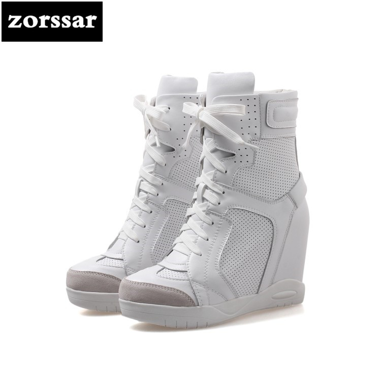 {Zorssar} 2018 Casual Sneakers Womens Boots Genuine Leather height increasing ankle boots High heels zapatos de mujer botas{Zorssar} 2018 Casual Sneakers Womens Boots Genuine Leather height increasing ankle boots High heels zapatos de mujer botas