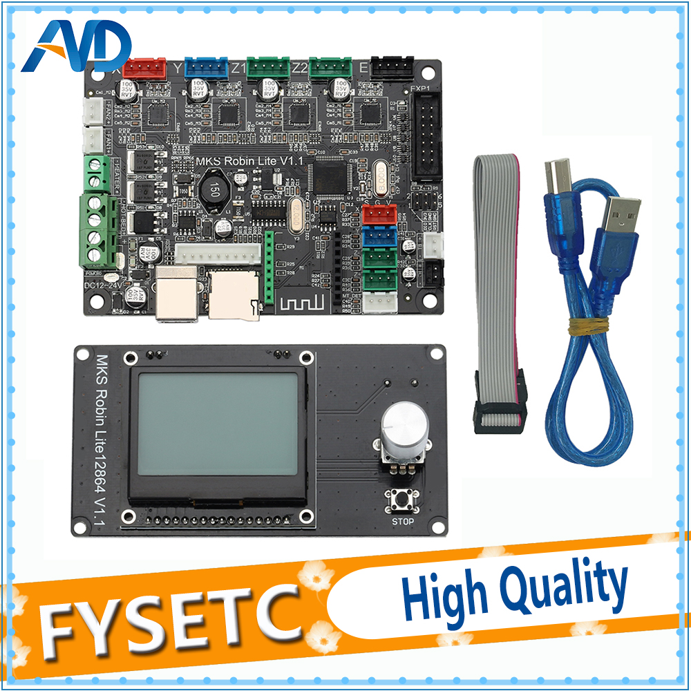 STM32 Control Board 3D Printer Board32 Bit MKS Robin Lite Motherboard With Mini 12864 LCD Display Closed Source Software 3d printer parts mks robin v2 2 controller motherboard with robin tft32 display closed source software mks robin wifi module