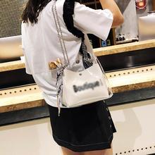 Women Korean Transparent PVC Tote Shoulder Chain Bag With Scarf Crossbody Messenger Clear Bags Fashion Handbag Jelly Square Bag недорого