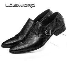 Grande tamanho EUR45 marrom tan/preto fivela serpentina mocassins sapatos de couro genuíno dos homens de negócios vestido sapatos sapatos de casamento do mens