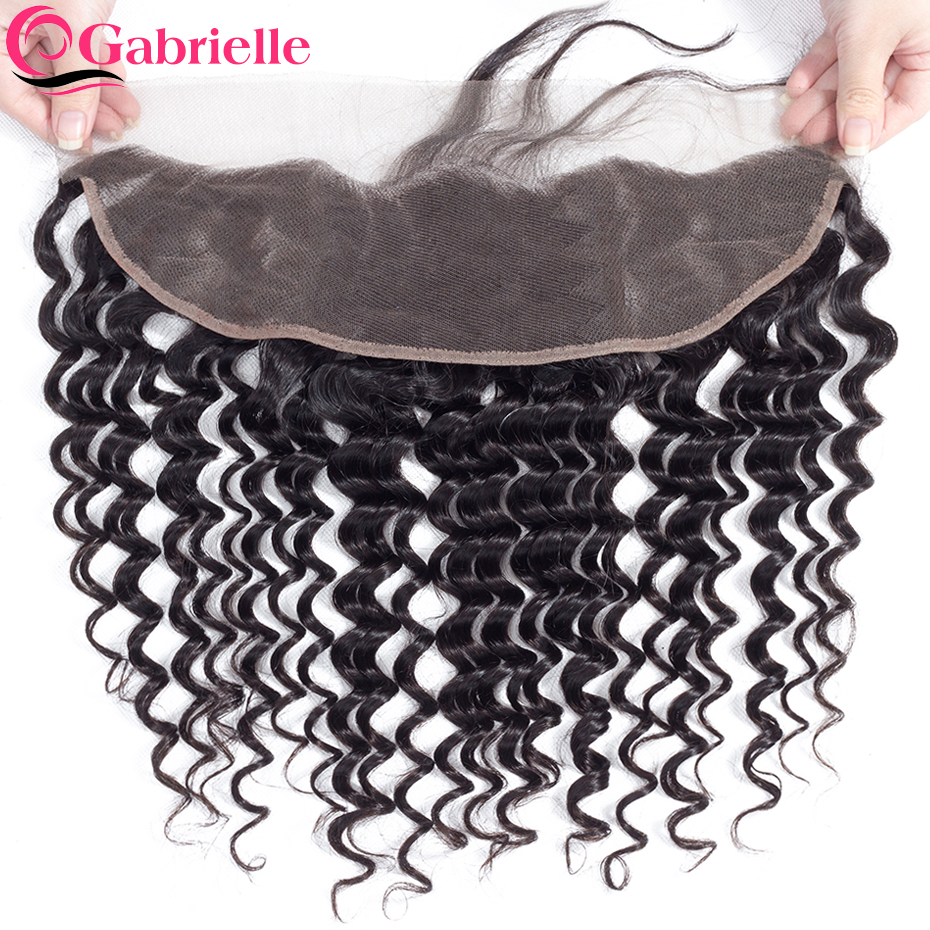 Gabrielle Closure Human-Hair Frontal Deep-Wave Natural-Color Brazilian 13x4 Free/middle/three-part