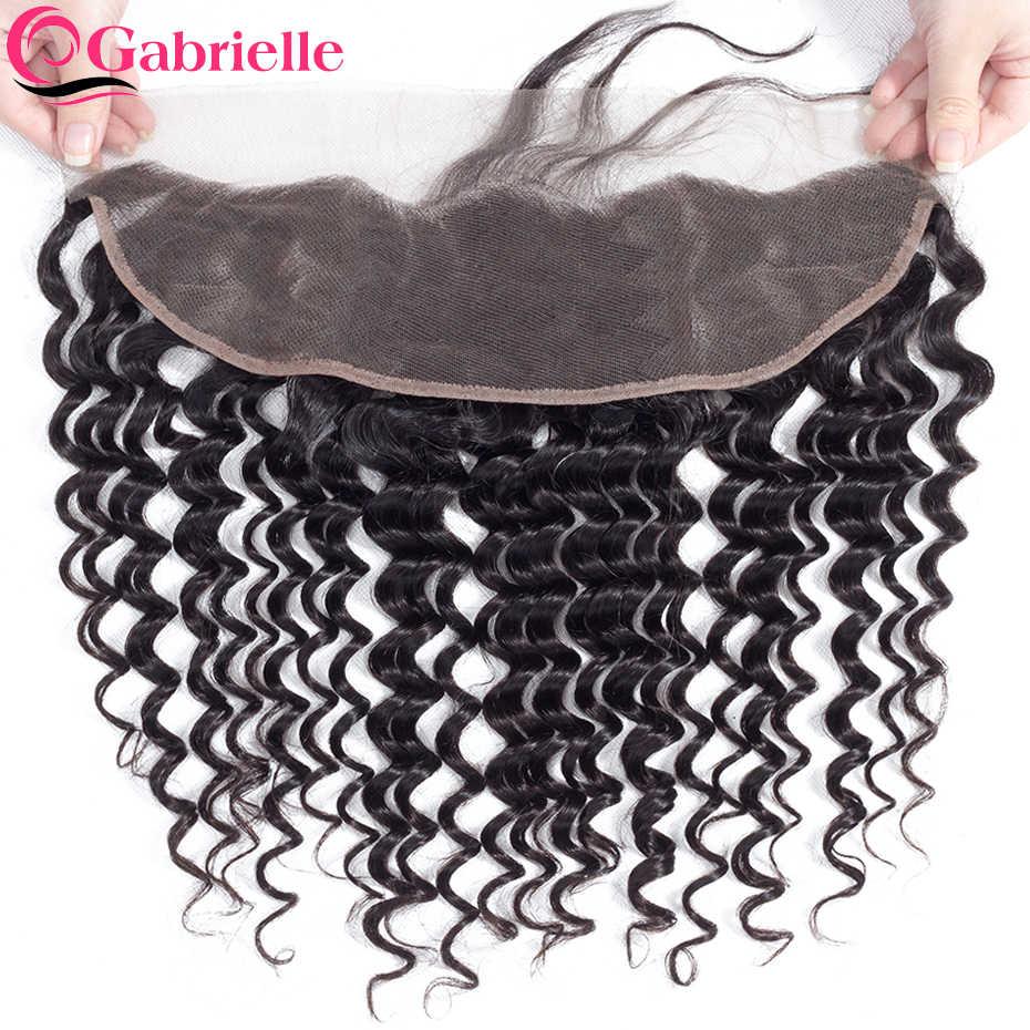 Gabrielle 13x4 Кружева Фронтальная Закрытие Бразильский глубокая волна натуральный цвет 100% не Реми человеческих волос бесплатно/средний/три части фронтальной