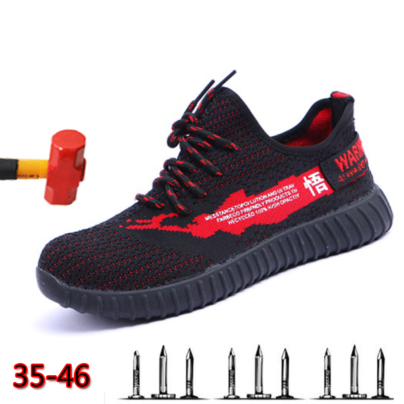Dropshipping Men And Women Steel Toe Air Safety Boots Indestructible Ryder Shoes Puncture-Proof Work Sneakers Breathable Shoes