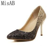 2016 bombas de las mujeres famosas de la astilla de oro de tacón alto brillo cómodo alta calidad de las mujeres zapatos de fiesta de tacones oficina ALF146