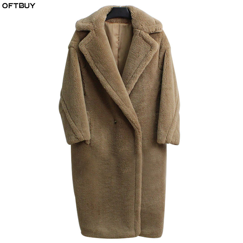 OFTBUY 2019 real fur coat winter jacket women long warm thick natural Sheep Fur Lamb Fur