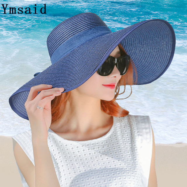 Ymsaid 2018 New Hot Fashion Spring Summer Female Classic Solid Color Casual Hat Women Uv Protection Beach Hat Bow Sun Hats