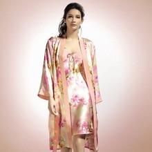 Женский пижамный комплект из двух предметов, халат из натурального шелка с длинным рукавом и принтом, YE0001
