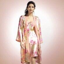 Conjunto de Bata de dormir de seda auténtica para mujer, ropa de dormir femenina de seda Natural de dos piezas, albornoces con mangas largas estampados YE0001