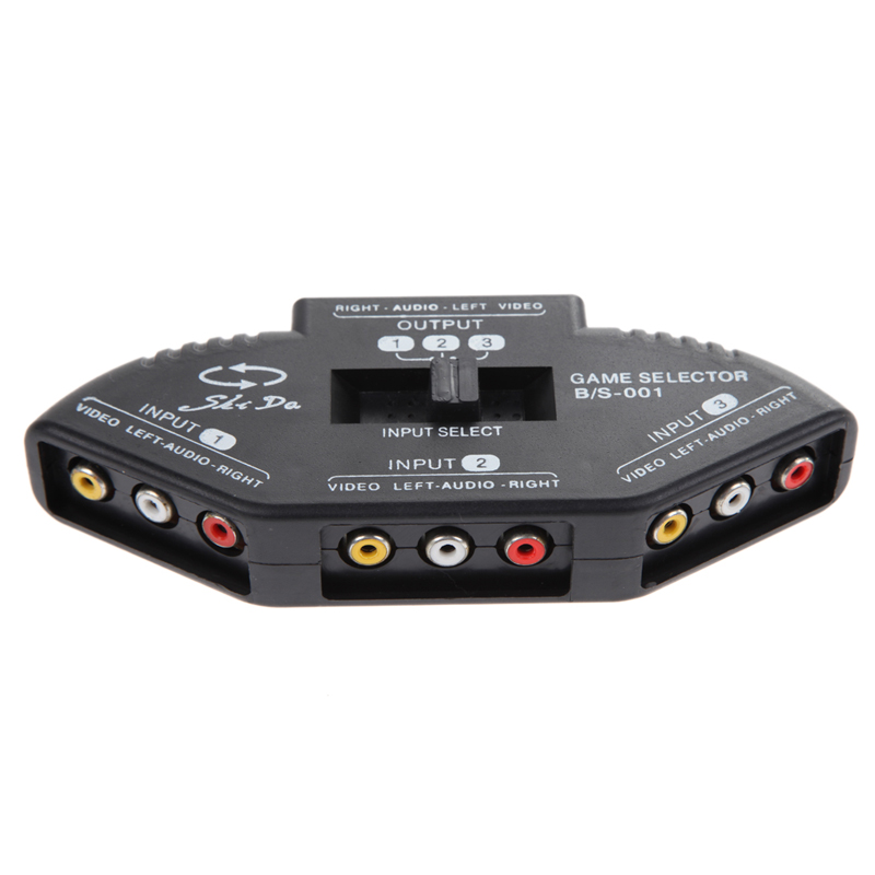 3 Input 1 Output Audio Video AV RCA Switch Box For TV AV Devices Black Switch Selector Box Splitter with 3 RCA Cable