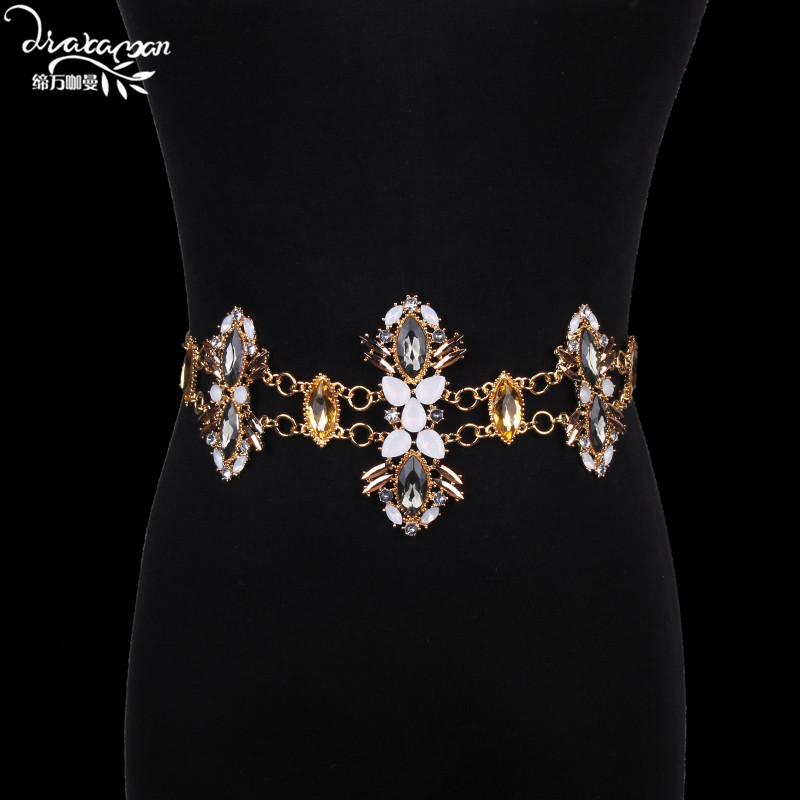 Dvacaman Brand 2017 Trendy Bikini Belly Body Chain Women Hot Beach Party Crystal Statement Waist Chain Jewelry Bijoux Femme DD45