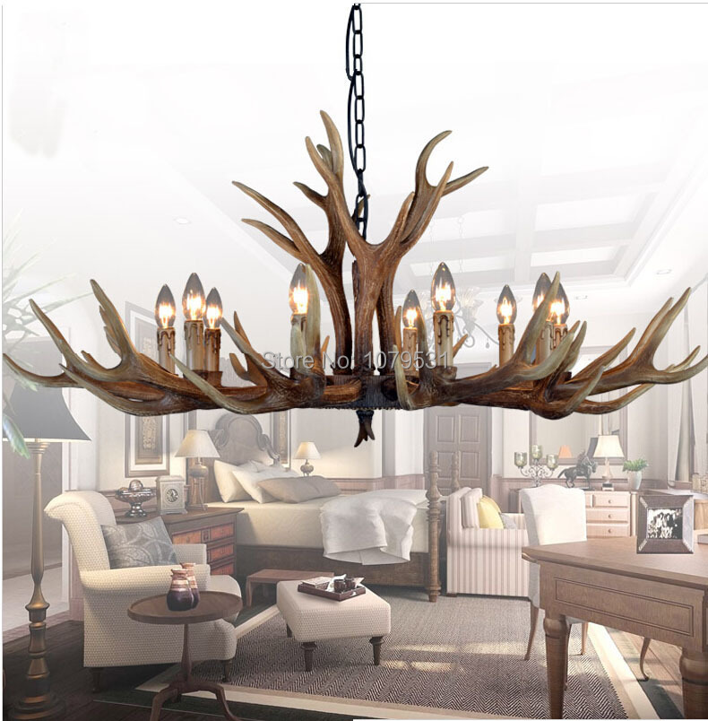 6/8/10 Heads Europe Deer Horn Antler Pendant Lamp Mediterranean Resin Antler Lampshade Kitchen Decor Suspension Luminaire,E14 europe country 5 heads french retro pendant light resin deer horn antler glass lampshade home decoration lighting e27 110 220v