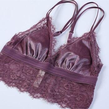 TERMEZY 2019 New Fashion Women Velvet Bra set Underwear broad-brimmed lace brassiere wireless Lingerie Soft Trim bralette set 5