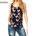 Novas camisetas de verão tanque das mulheres europa magro chiffon moda sem mangas borboleta impressão Tees o pescoço cropped tops vintage S085