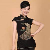Fashion Red Chinese Women S Clothing Cotton Lace Blouses Shirt Tops Peafowl Blusa Feminina Size S