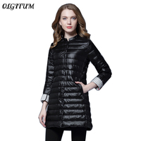 2018 Women Spring Padded Warm Soft Coat Ultra Light Duck Down Female Coat Overcoat Slim Solid Jackets Winter Portable Parkas