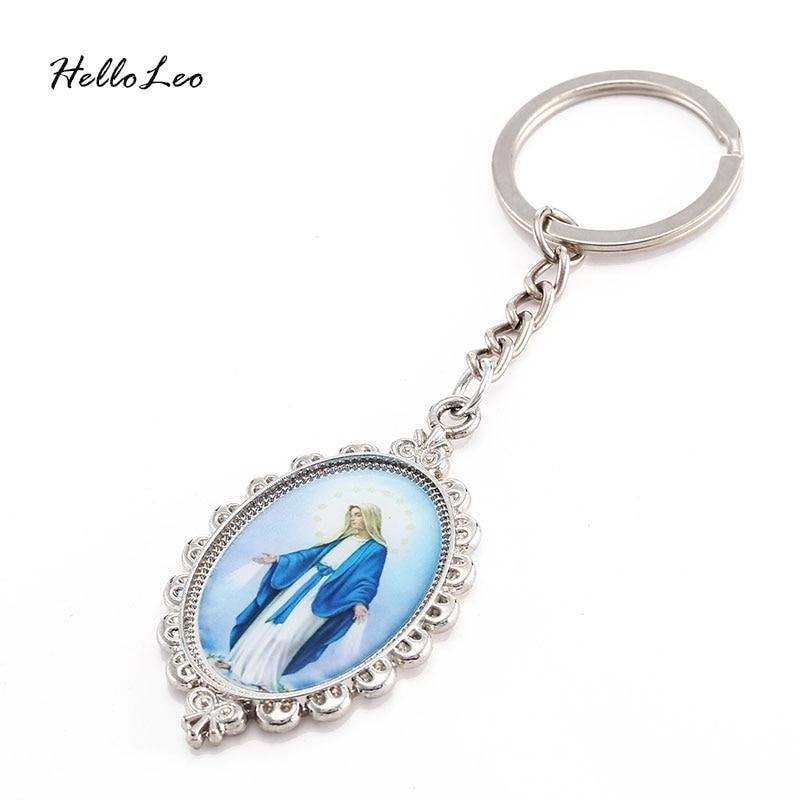 Vintage Silver Charms Virgin Mary Jesus Keychain Ring For Keys Car Bag Key Ring Handbag Gift Accessories Free Shipping
