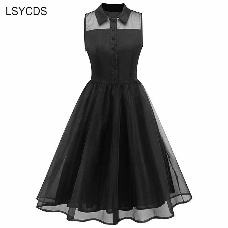 Women Black Mesh Dress Summer 2018 Sexy Sleeveless Peter Pan Collar Knee-length Dresses Big Swing Casual Party Vintage Vestidos