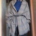 Yeeshan Longa Xadrez Cachecol Mulheres Cachecol de Inverno Lenços Quentes Marca Outono Estolas Cachecóis Tassel Xaile Poncho Xadrez Famosa Marca