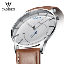 Cadisen Ultra thin men watch relogio masculino Casual Fashion Quartz watch Waterproof Sports Wristwatch luxury leather watch man