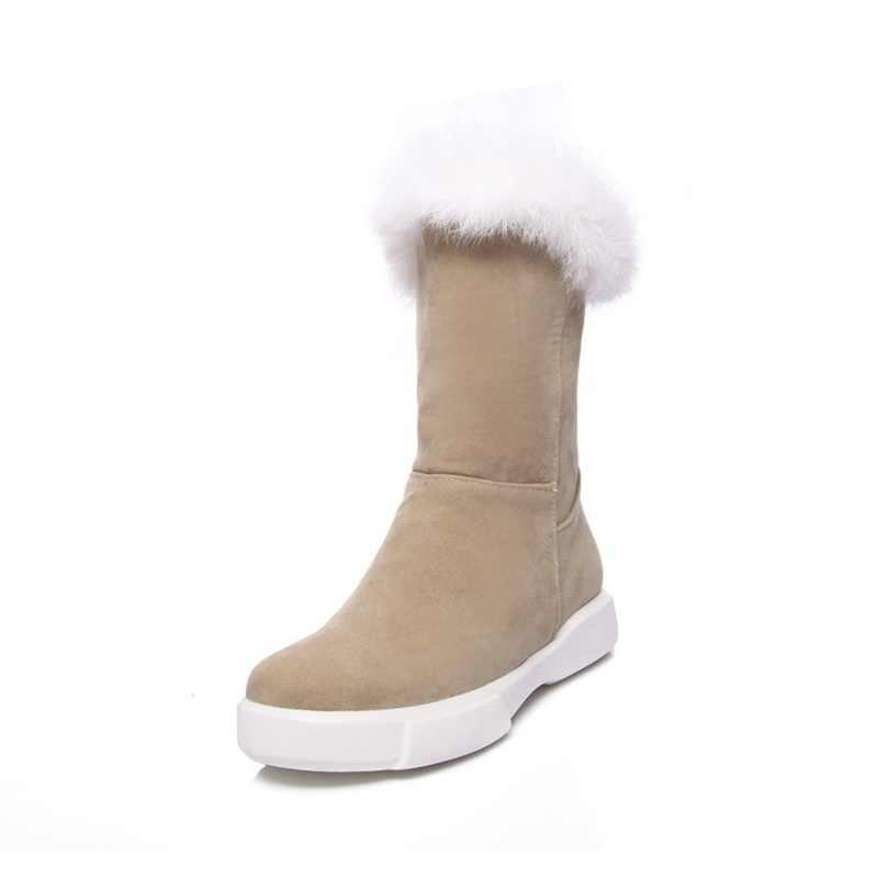 EGONERY kar çizmeler kadın ayakkabıları yuvarlak ayak düz düşük topuk kış sıcak içinde orta buzağı botları gerçek kürk dekorasyon rahat ayakkabılar
