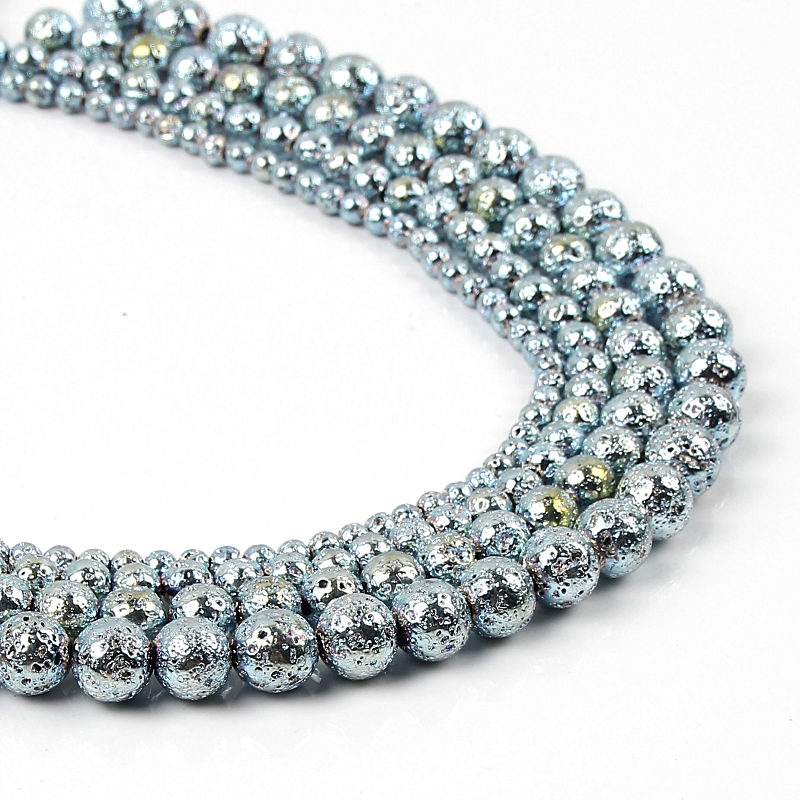 Light blue hematite beads volcanic stone beads DIY bracelet anklet jewelry essential accessories 4/6/8/10mm(China)