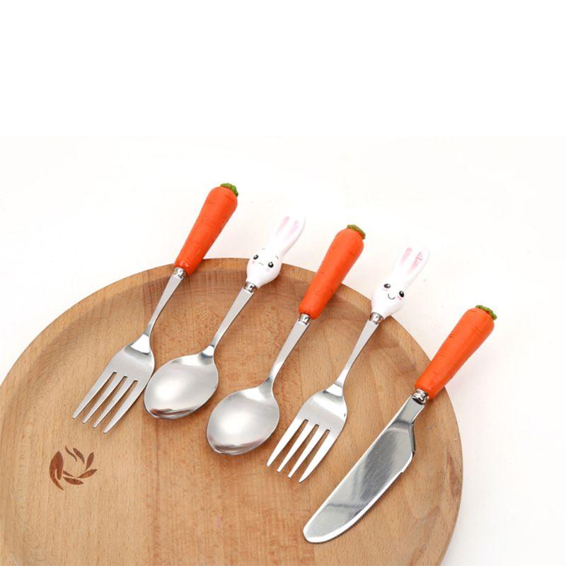 Cartoon Stainless Steel Kids Spoons Forks Knife Resin Handle Baby Feeding Tableware Kids Toddler Dishes Dinnerware