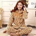 Утолщение осенью и зимой ватки пижамы женский салон комплект ватки любители пижамы леопардовым принтом