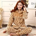 Thickening autumn and winter coral fleece sleepwear female lounge set coral fleece lovers sleepwear leopard print thermal