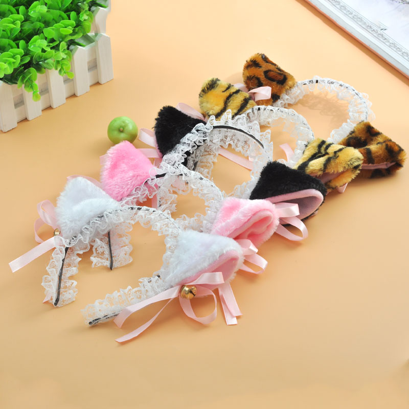 Lolita Cute Cat Ear Lace Headband with Bell Pink White Black Leopard sexy Cat Ear Cosplay Headwear Anime Cat Girl Costume