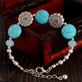 2255 Hot Charm Beads Fashion Jewelry Vintage Hollow Out Handmade Petals Tibetan Silver Turquoise Bracelet Free Shipping