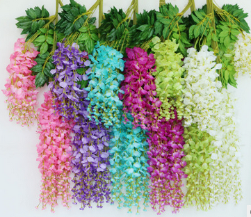 2017 high silk wisteria home Wedding decorations flower artificial <font><b>fllower</b></font> wholesale 12 pieces/pack 75cm 110cm Available image