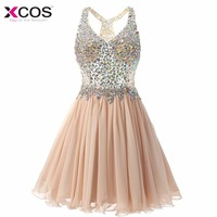 Champagne Cocktail Dress Cute Gilrs 2017 Vestidos Plus Size Sexy Homecoming Dresses Short Robe De Cocktail