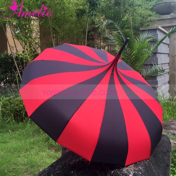 10pcs Free shipping Lolita Gothic Style Princess Sun Umbrella Red Black Stripe Pagoda Umbrella Wedding Sun