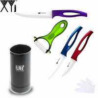5 Piece Set XYJ Brand 5 4 3 Inch Zirconia Ceramic Knife Black Knife Holder Peeler