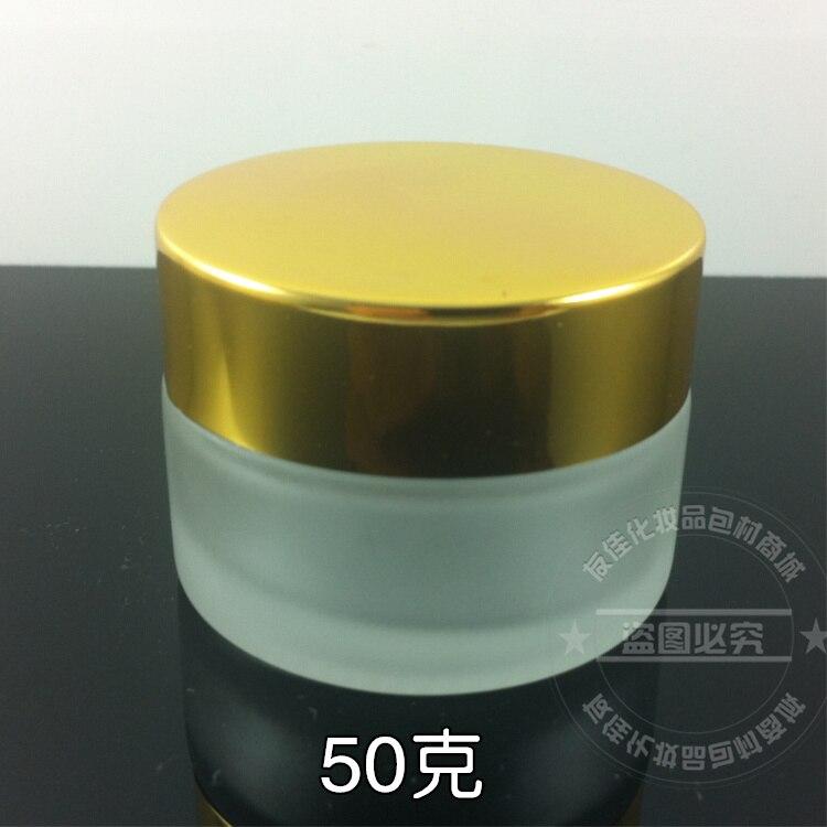50 pecas 50g claro boiao de creme fosco vidro geada frasco cosmetico com tampa de ouro