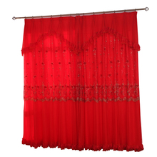 Double Layer Custom Made cortinas Luxury Red Lace Curtain Living Room Joyous Wedding Tulle Curtain Rideaux Wedding Decoration