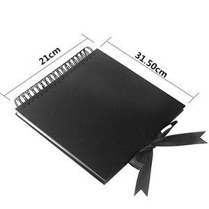 Image 2 - 31.5x21 cm 40 unidades/80 páginas papel preto, scrapbook, convidado de casamento, livro, diy, aniversário, viagem, reserva de memória álbum de fotos