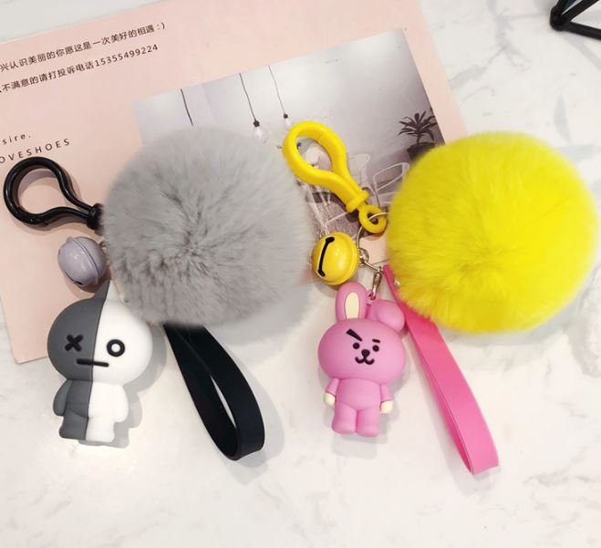 1 Pc Lovely Kpop Bts Bt21 Cartoon Fur Ball Keychain Plush Keychain Bag Pendant Accessories Keyring For Girls Plush Toy #3