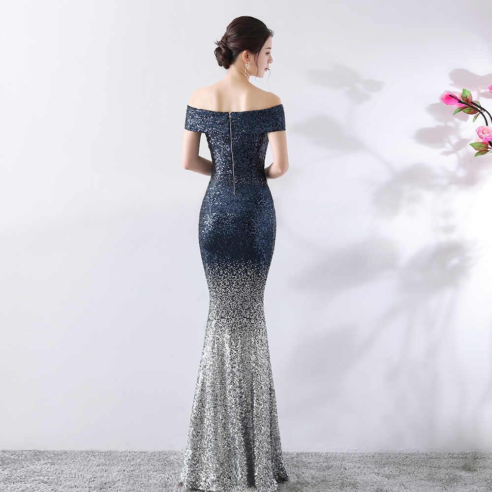 Новое Вечернее платье русалки, светоотражающее, с открытым хвостом, с блестками, цвет выцветает, темно-синий, сексуальный вырез «сердечко», вечерние платья для выпускного вечера, свадебное платье De Fiesta