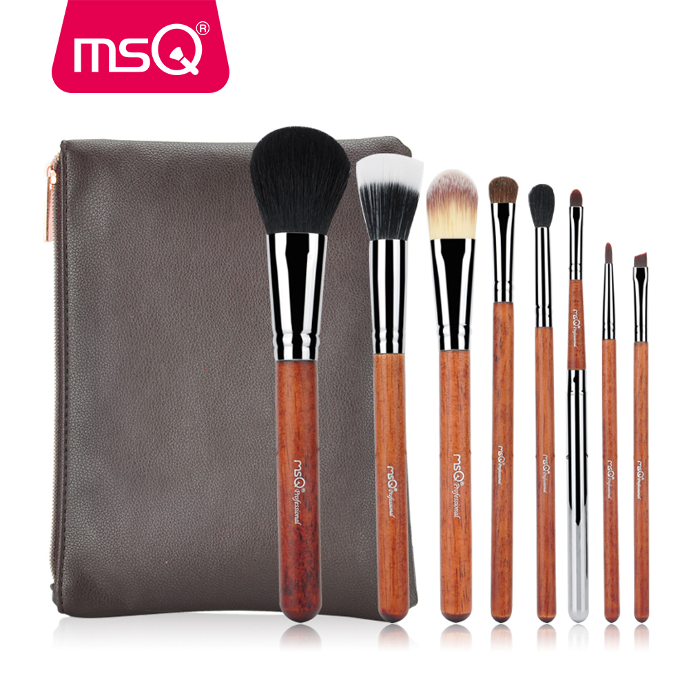 MSQ Pro Makeup Brush Set 8pcs Copper Pipe High Quality Powder Eyeshadow Foundation Makeup Tool Kits With a PU Leather Purse focallure 3pcs pro face makeup daily using foundation cream loose powder with high quality makeup brush