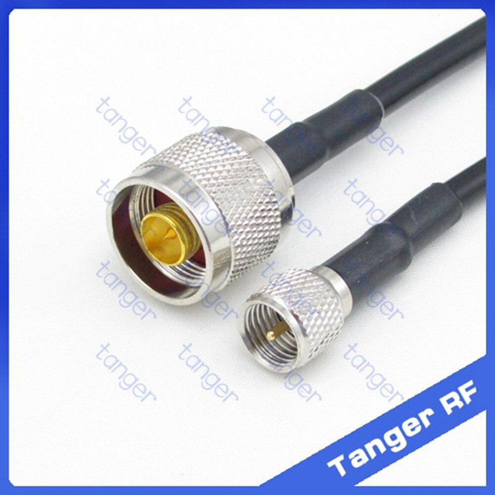Tanger Mini PL259 SL16 UHF plugue macho para N plugue macho hetero RF Coaxial RG58 Pigtail Jumper Cabo de 20 polegadas de 50 cm de Alta Qualidade