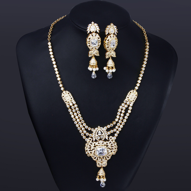 HY Flor De La Moda Nupcial conjuntos de Collar y Aretes Sistemas de la Joyería de circón Cúbico para Las Mujeres Joyería de La Boda establece