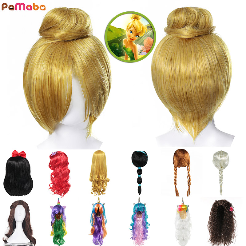 PaMaBa Fancy Pixie Fairy Tinker Bell Blonde Hair For Kids Teen Adult Halloween Princess Elsa Anna Unicorn Wig Cosplay Accessory