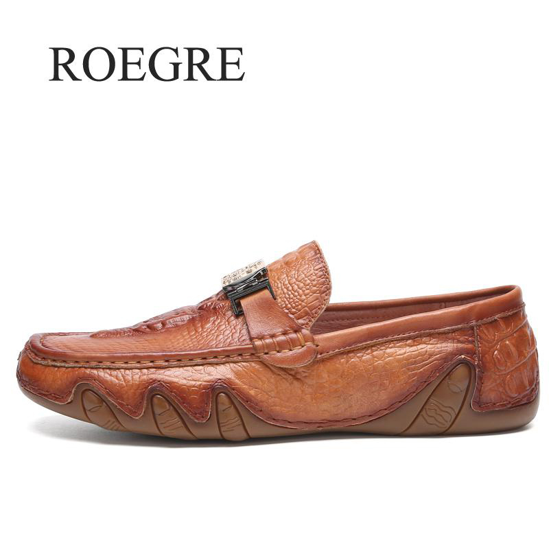 ROEGRE New 2018 Handmade Genuine Leather Men Shoes Casual Luxury Brand Men Loafers Fashion Breathable Shoes Slip On Moccasins roegre 2018 genuine leather casual men shoes comfortable soft leather men loafers slip on men flats fashion men s leather shoes
