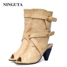 цена NINGUTA summer boots women high heels peep toe fashion party shoes woman онлайн в 2017 году