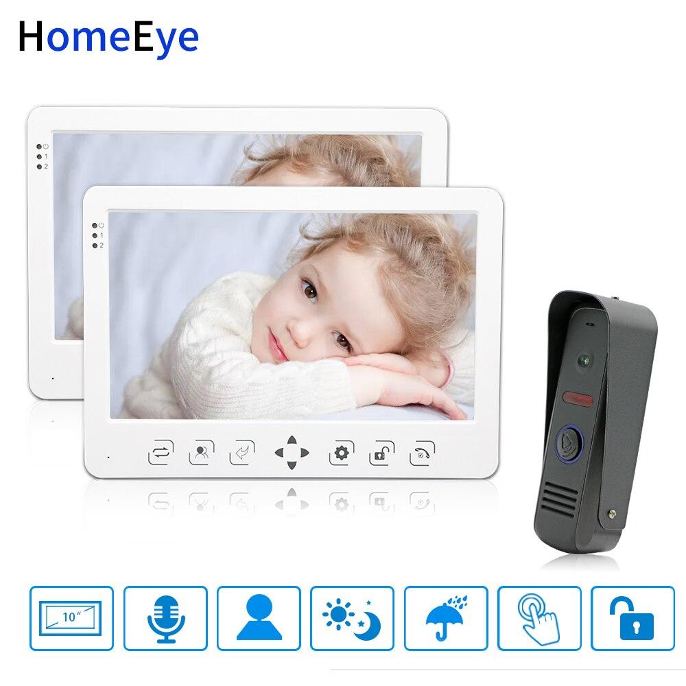 HomeEye 10 Inch Video Door Phone Video Intercom Doorbell Voice Message Rainproof Video Record Unlock Door 1-2 Home Access System