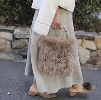 Новый натуральный Лисий Мех Натуральная кожа Женская Лоскутная сумка мини сумка мессенджер с цепочкой на одно плечо сумка через плечо милы