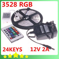 3528 RGB LED Strip 5M 300 Led SMD IR Remote Controller 12V 2A Power Adapter Flexible Light Free Shipping